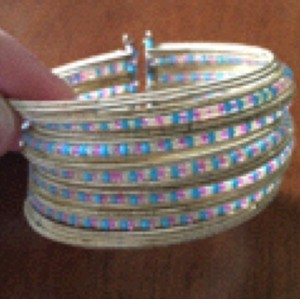 Other Unique Seed Bead Bangle With Gold Bands, Blue, Pink & Gold Seed Beads