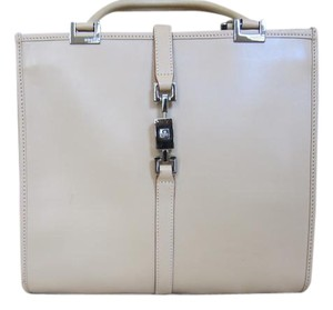 Gucci Leather Top Handle Tote in cream