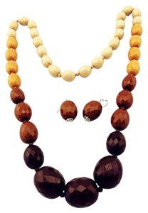 African Necklace And Earring Set Fashion Jewelry Set Brown Beads Bohemia Long Necklace Earrings For Women