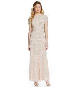 Adrianna Papell Champagne Short Sleeve Beeded Dress Dress