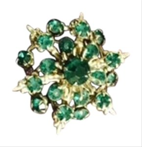 Vintage Brooch Pin Green Rhinestones Star Flower Cluster