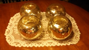 Set Of 4 Silver / Gold Mercury Glass Vases