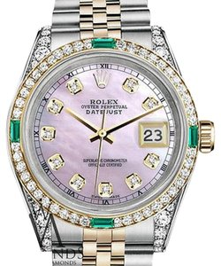 Rolex Womens Rolex Stainless Steel&Gold 31mmDatejust Watch PinkMOP Emerald DiamondDial
