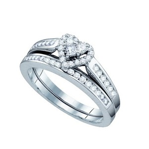 Luxury Designer 10k White Gold 0.50 Cttw Heart Diamond Engagement Ring Bridal Set