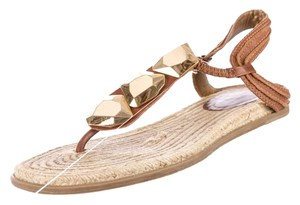 Diane von Furstenberg Embellished Leather Summer Spring Brown/Gold Sandals