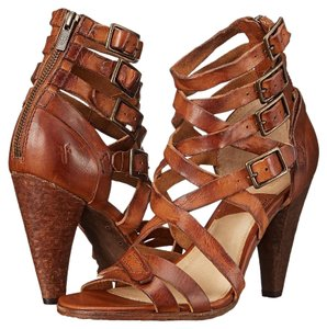 Frye Leather Vintage Summer Date Night Western Cognac Sandals