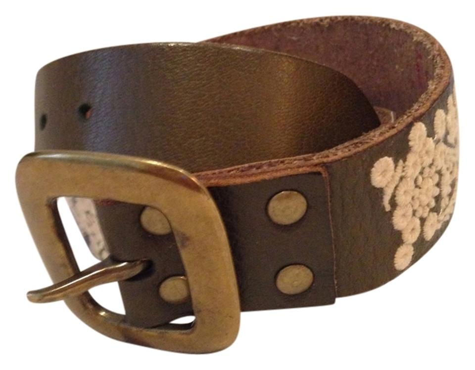 lucky brand olive green colored embroidered sz medium belt tradesy