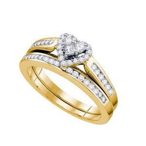 Luxury Designer 10k Yellow Gold 0.50 Cttw Heart Diamond Engagement Ring Bridal Set