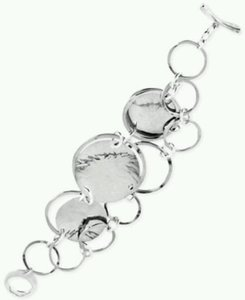Robert Lee Morris Robert Lee Morris Soho Silver-Tone Hammered Disc and Ring Toggle Bracelet