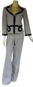 Nanette Lepore NANETTE LEPORE Black Striped Pantsuit Pants Suit 10 Cotton Blend
