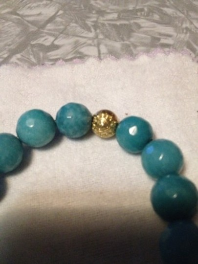Other Gold Plated Green Druzy And Turquoise Stretch Bracelet