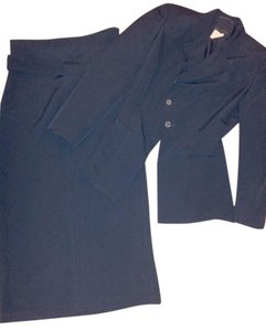 Comme des Garons Vintage Navy Textured Rib Notch Collar Asymmetrical Jacket and High Waist Skirt