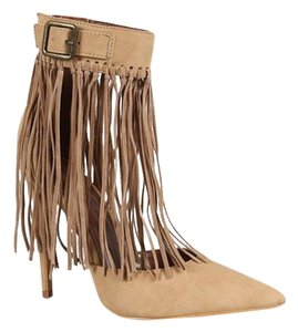 Shoe Republic La Knotted Fringe Cuff Pointed Toe Heels Tan Pumps