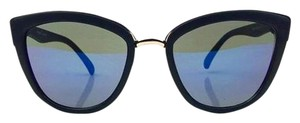 Elle Cross Elle Cross Cat Eye Blue Mirrored Lenses Sunglasses Black Matte Frames