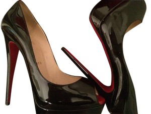 Christian Louboutin Lady Peep To Pump Black patent Platforms