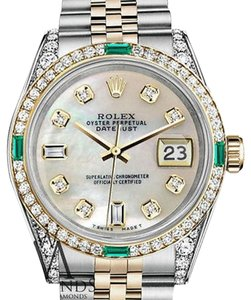 Rolex Women's Rolex Steel And Gold 31mm Datejust White MOP Emerald Diamond Dial Watch