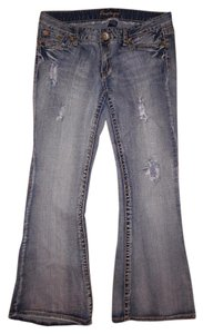 Amethyst Jeans Distressed Faded Ripped Holes Flare Leg Jeans-Distressed