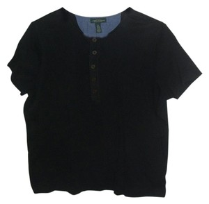 Ralph Lauren Henly Neckline 5-button Top Black
