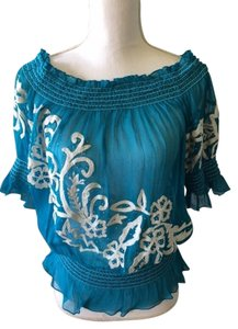 Cache Silk Top turquoise blue/white