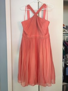 J.Crew Bright Coral Chiffon Sinclair In Silk Item 49388 Formal Bridesmaid/Mob Dress Size 10 (M)