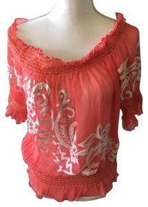 Cache Silk Top coral/white