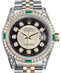 Rolex Women's Rolex Steel&Gold 31mm Datejust Watch Black Tuxedo Emerald Diamond Dial