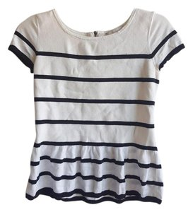 Ann Taylor LOFT Short-sleeve Peplum Striped Spring Sweater