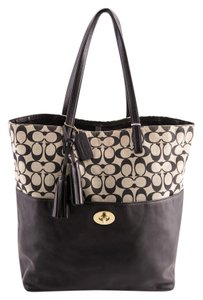 Coach Canvas/leather Monogram Tote in Black