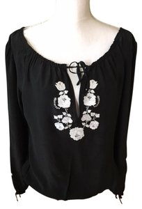 White House | Black Market Silk Top Black/white