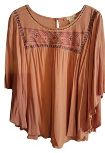 Flying Tomato Bohemian Dolman Sleeves Peach Top Dusty pink