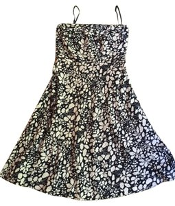 J.Crew short dress Floral navy blue white print Comfortable Summer Strapless on Tradesy