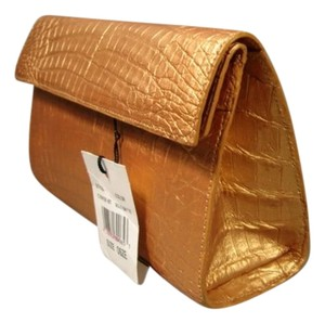 Nancy Gonzalez New Over Flap Caiman Croc Small Size Magnetic Closing Metallic Matte Gold Clutch
