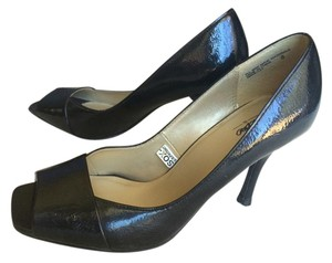 Mossimo Supply Co. Patent Leather Peep Toe Square Toe Black Pumps