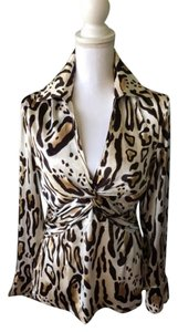 Cache Leopard Top Shades of Brown/cream