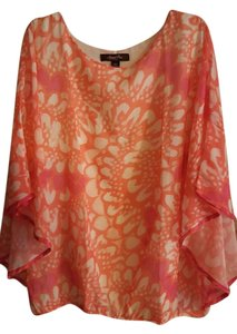 Sweet Pea by Stacy Frati Dolman Sleeves Lined Top Coral/melon/cream/fuchsia