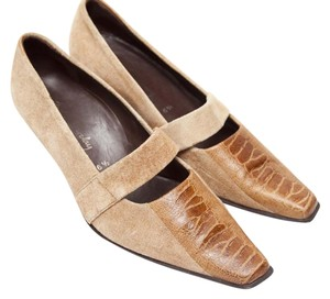 Betty Barclay Elastic Strap Leather Panel Suede Brown Pumps