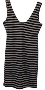 Aqua short dress Black and White Stripe on Tradesy