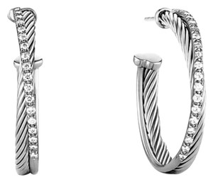 David Yurman Crossover Medium Hoop Earrings With Diamonds E06565MSSADI