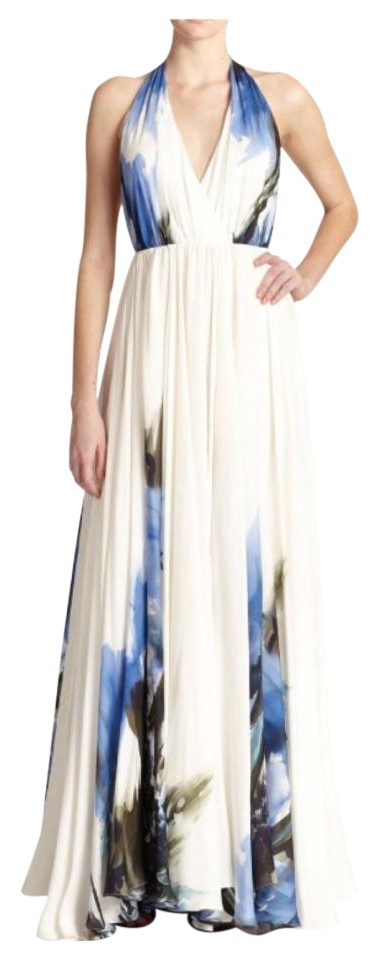 MILLY Blue Printed Halter Gown Long Formal Dress Size 4 (S) - Tradesy