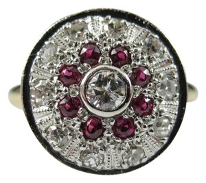 Other Size 3, 14k white & yellow gold, two tone, 1.00 ct. tw. red ruby, genuine diamond, fashion, statement, multistone, engagement, floral motif ring