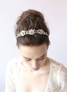BHLDN Gold and Crystal Twigs Honey Triple Blossom Tiara