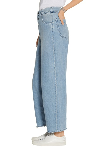 Item - Blue Distressed High-rise Wide-leg Straight Leg Jeans Size 32 (8, M)