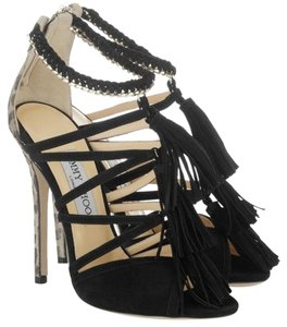 Jimmy Choo Black Suede with Gold hardware Sandals