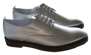 Miista Brogue Leather Gum Soles Silver Flats