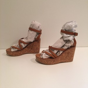 K. Jacques New Cork Strappy Nude Leather Wedges