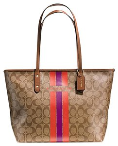 Coach Tote Classic Monogram Signature Stripe Brown Travel Bag