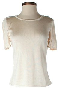 St. John Knit Crew Neck Top Ivory