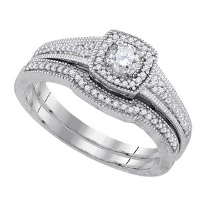 Luxury Designer 14k White Gold 0.46 Cttw Diamond Engagement Ring Bridal Set