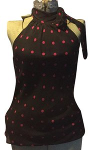 Express Top Black with hot pink polka dots