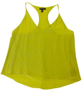 bebe Silk Flowy Summer Day Out Top Yellow-Green